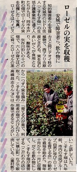 NPO法人 こすもす畑さんが新聞で紹介されました。